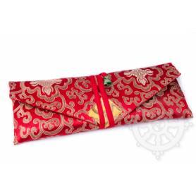 Porte-texte en belle soie rouge au motif Floral (L. 32 x l. 14 x H. 2cm)