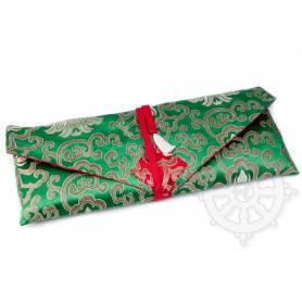 Porte-texte en belle soie vert au motif Floral (L. 32 x l. 14 x H. 2cm)