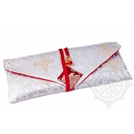 Porte-texte en belle soie blanc au motif Floral (L. 32 x l. 14 x H. 2cm)