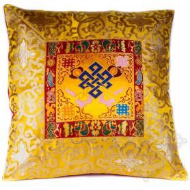 Housse de coussins standing brocart de soie jaune - noeud de l'infini (42,5 x 42,5 cm)