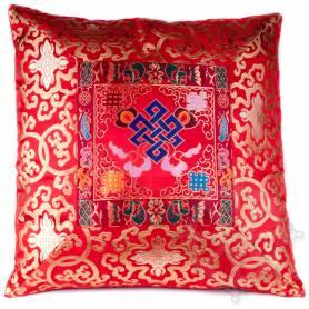 Housse de coussins standing brocart de soie rouge - noeud de l'infini (42,5 x 42,5 cm)