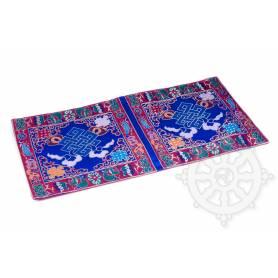Chemin de table en brocart de soie bleu - noeud de l'infini (L. 45 x l. 23,5 cm)