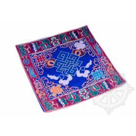 Chemin de table en brocart de soie bleu - noeud de l'infini (L. 22,5 x l. 22 cm)