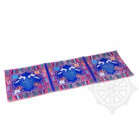 Chemin de table en brocart de soie bleu - noeud de l'infini (L. 70 x l. 23,5 cm)