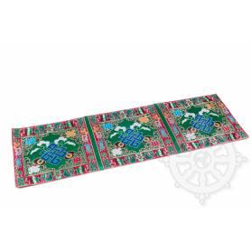 Chemin de table en brocart de soie vert - noeud de l'infini (L. 70 x l. 23,5 cm)