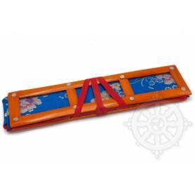 Grand porte-textes en tissus bleu floral(armature bambou, L. 42 x l. 12 x H. 10cm)