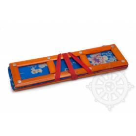 Grand porte-textes en tissus bleu floral(armature bambou, L. 36 x l. 10 x H. 10cm)