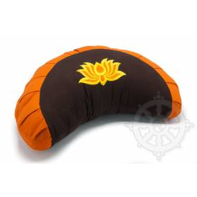 Coussins 1/2 ZAFU ou FUZEN  (H. 15 x l. 26 x L. 40 cm, Orange avec lotus marron)