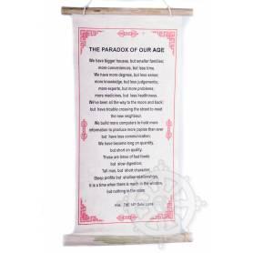 Rouleaux - Citations du Dalai Lama THE PARADOX OF OUR AGE en Papier lokta