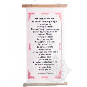 Rouleaux - Citations du Dalai Lama NEVER GIVE UP! en Papier lokta