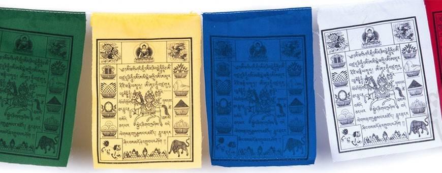 Drapeaux tibétains de prières, coton, Tissus & brocarts , 2020
