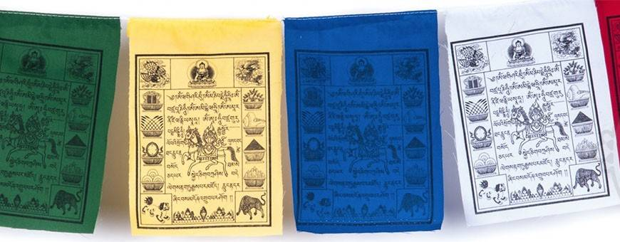 Drapeaux tibétains en tissu, Tissus & brocarts , 2019
