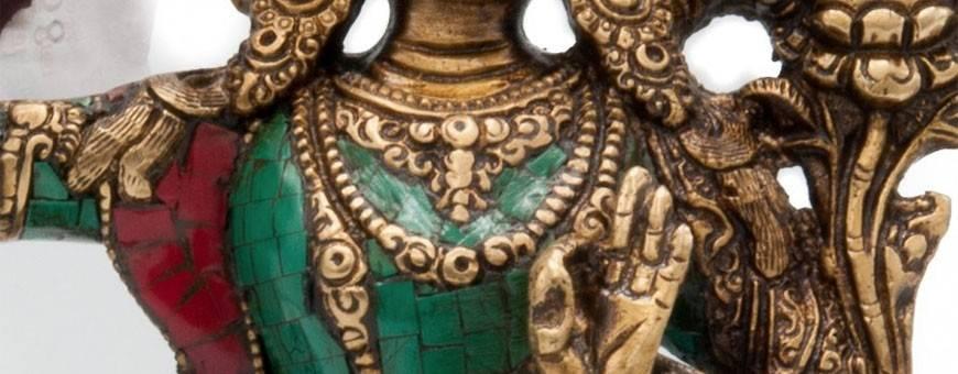 Statues Laiton incrusté de pierres pour les pratiques de visualisation, bouddhisme, rituel, deite