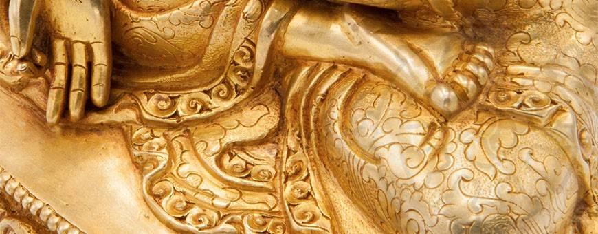 Statues Plaquées or 24k pour les pratiques de visualisation, bouddhisme, rituel, deite