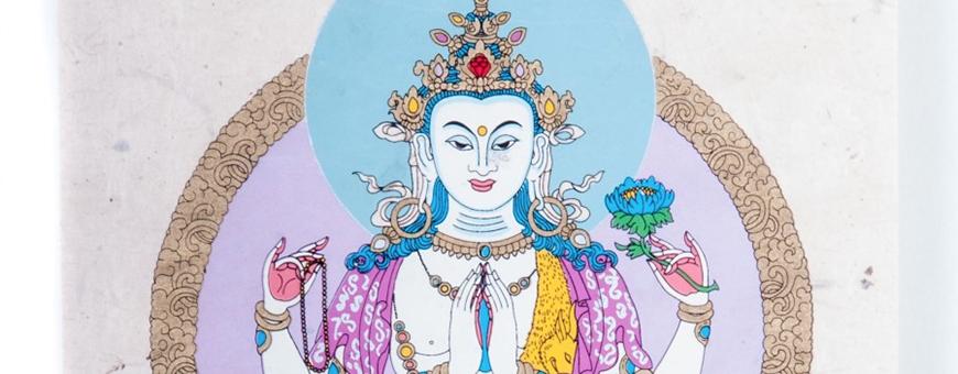 Papeterie - Lokta Lamali Rouleaux - Divinités bouddhiques