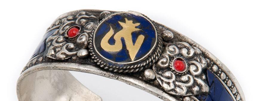 Jewelry Bracelets man-woman Himalaya nature gold silver stones