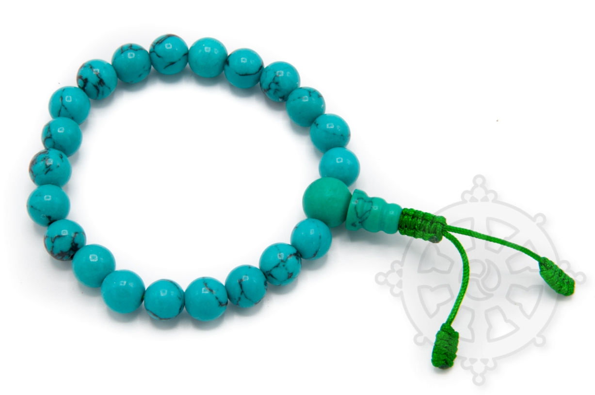 Wrist Mala with 21 beads in turquoise